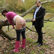 Milf was caned in the woods