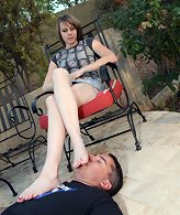 Wife trampling husband outdoor