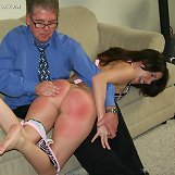 Hot babe getting otk spanks