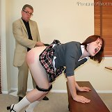 The redhead schoolgirl was paddled hard