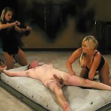 Two mistresses humiliated office man