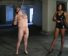 Ebony latex mistress humiliate and fuck maleslave