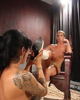Brunette slaveslut licked mistress` boots