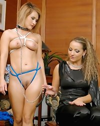 Lesbian slave was tied and humiliated