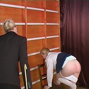 Blonde schoolgirl caned hard