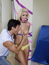 YOung Teen is tieds up and made to squirt!