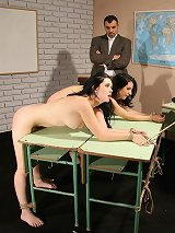 Hot schoolgirls in a hardcore maledom BDSM action
