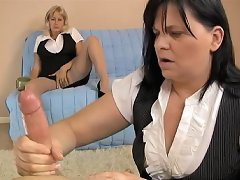 Two Grannys give amateur handjob at clubtug