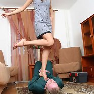 A bound lad gets trampled and humiliated with no mercy before finally being allowed to taste his domina's toes