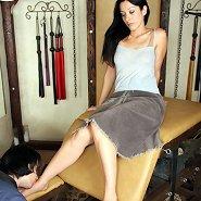 Slaveboy worships mistress` feet
