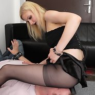 Blonde in pantyhos sat on man\\\'s face