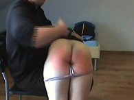 Daddy spanked a blonde teen girl otk