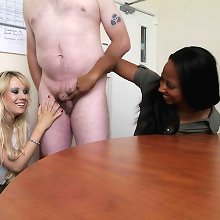 New bank manager gets spanked and wanked for feeling up his secretary