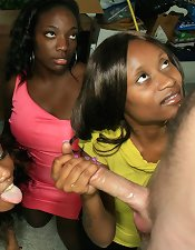 Three ebony babes doing handjob hard