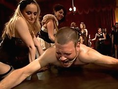 40 women gang bang slaveboy\'s ass for Bobbi Starr\'s birthday soiree LIVE and PUBLIC!