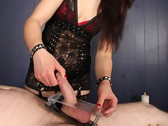 Mistress Cheyenne gets her slave on his back and does some very painful CBT to him with sharp brushes and ball crushers.