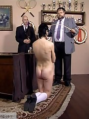 Elegant experienced pupil getting her bottom horribly marked with the cane