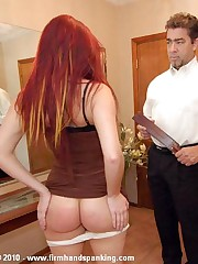 Bare bottom over-the-knee spanking for sad successor Samantha Woodley