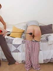 Bare bottom 40-swat billy spanking around a bath-brush be advisable for bubble-butt Alison