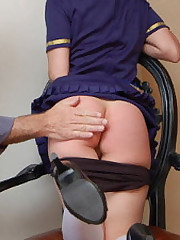 Exotic senior Monica Bouget spanked, panties down