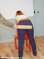 Prexy cute Samantha Woodley gets a bare disciplining at her workplace - ouch