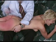 Raunchy broad gets depraved whips on her tush