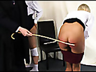 The blonde milf getting her hot bare ass caned