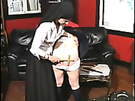 Naughty Schoolgirl Bent Over Desk and Paddled