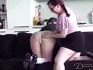 School girls spanks each other at home