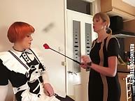 Sarah spanks a redhead MILF jail-bait hard.