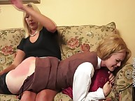 Strict mommy spanked a flaxen-haired pamper otk.