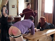 Mistress thrashing 2 bound slaves