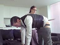 Fatty slut in glasse spanked boy