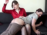 Pair spanking for babe