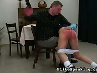 Naughty schoolgirl spanked by Daddy