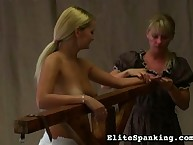 Disobedient blonde whipped by headmistress