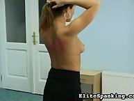 Stunning gal has her derriere spanked