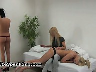 Blond mistress spanked two chicks