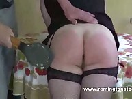 Bad chick punished with paddle