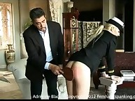 Stunning Adrienne Black strapped and paddled bare bottom in finale of Secretary