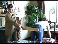 Submissive Kelly Morgan was paddled