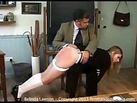 Blonde Belinda Lawson is open eyes punishment