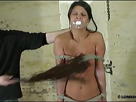 Terrible tits whipping for gagged