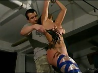 Bound teeny got tit whipping
