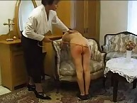 Bare bottom spanking for kinky lass