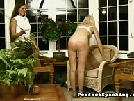 Salacious flapper has hard spanks on her prat