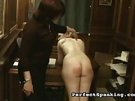 Two asses spanked by headmistress