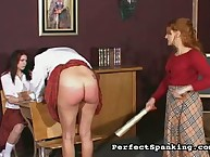 Leggy schoolgirl got paddled hard