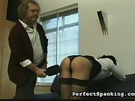 Painful paddling from experienced spanker