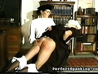 Prurient flapper has pitiless spanks on her bum